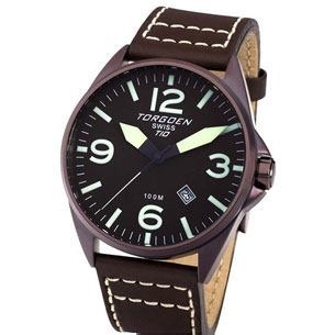 Torgoen T10103 watch with 3-hand Swiss calendar movement with luminescent hands & markers, solid high grade brown-tone stainless steel case on a brown Italian leather band.