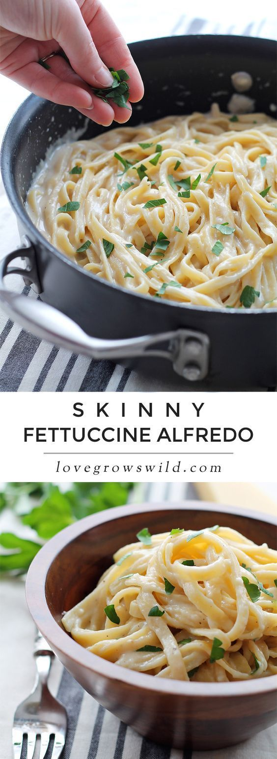 Skinny Fettuccine Alfredo - creamy cheesy pasta that is light on calories but big on flavor! Get the recipe atSkinny Fettuccine Alfredo - creamy cheesy pasta that is light on calories but big on flavor! Get the recipe atLoveGrowsWild