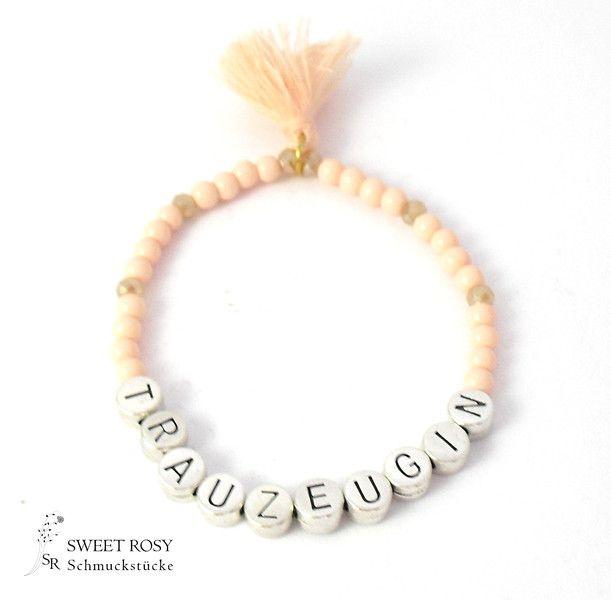 Accessoires - Perlenarmband Trauzeugin Geschenk Hochzeit apricot Quaste - ein Designerstück von sweetrosy bei DaWanda