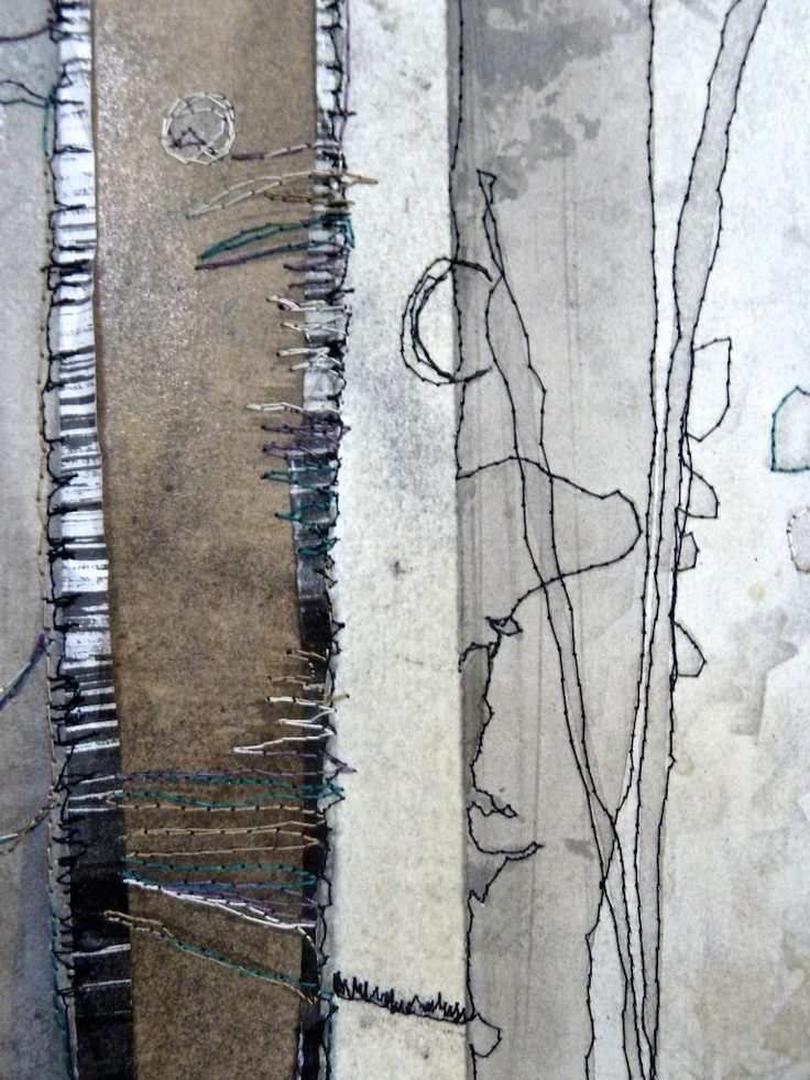 """Lisa Grey - mixed media study"" Three reasons, Lisa's name, colours and composition"