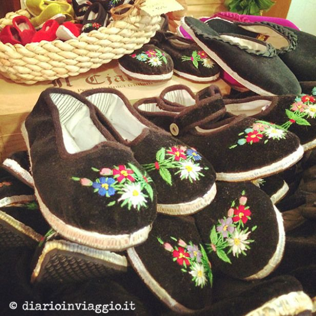 Typical local shoes in Carnia, their name is Scarpetz and they are hand made. Friuli Venezia Giulia, Italy