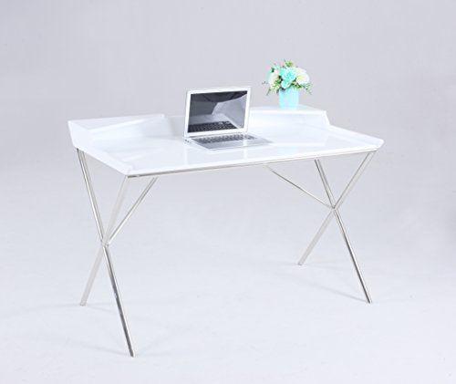 Milan ANDREA-DSK Andrea Modern Wood Desk with Chrome Legs