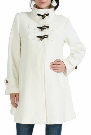 Wool Blend 'Kennedy' Toggle Button Coat in White
