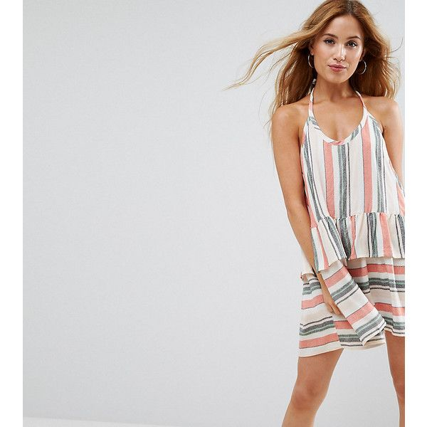 ASOS PETITE Beach Washed Stripe Halter Neck Dress ($44) ❤ liked on Polyvore featuring dresses, multi, petite, halter beach dress, beach dresses, striped mini dress, striped halter top and tall dresses