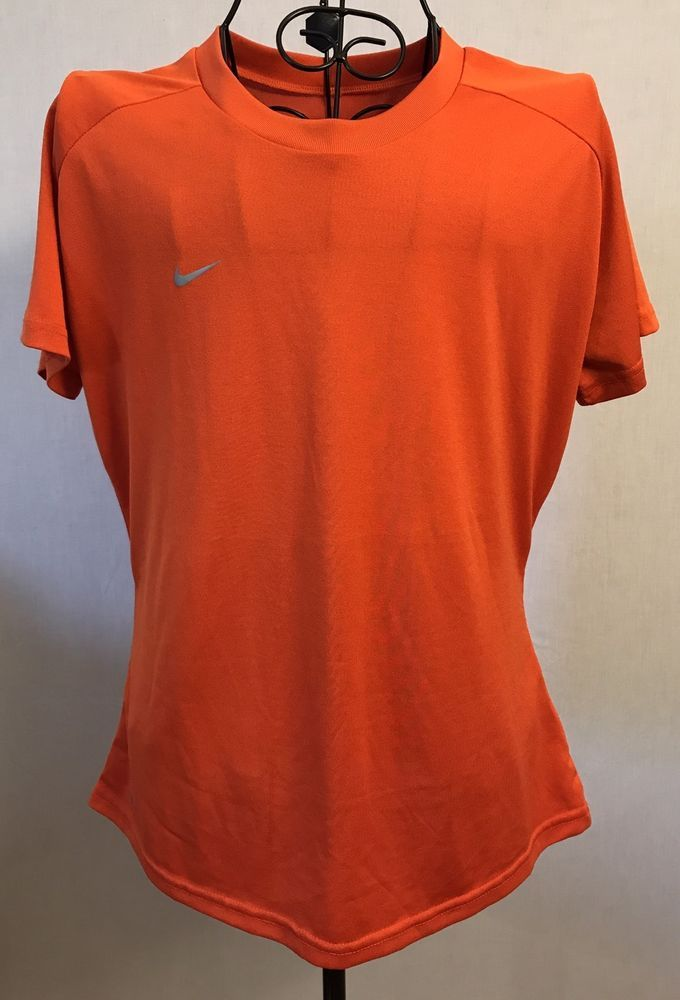 Womens NIKE Fit Dry Orange Tee Shirt Large L 12-14 Top Athletic Workout Fitness #Nike #ShirtsTops