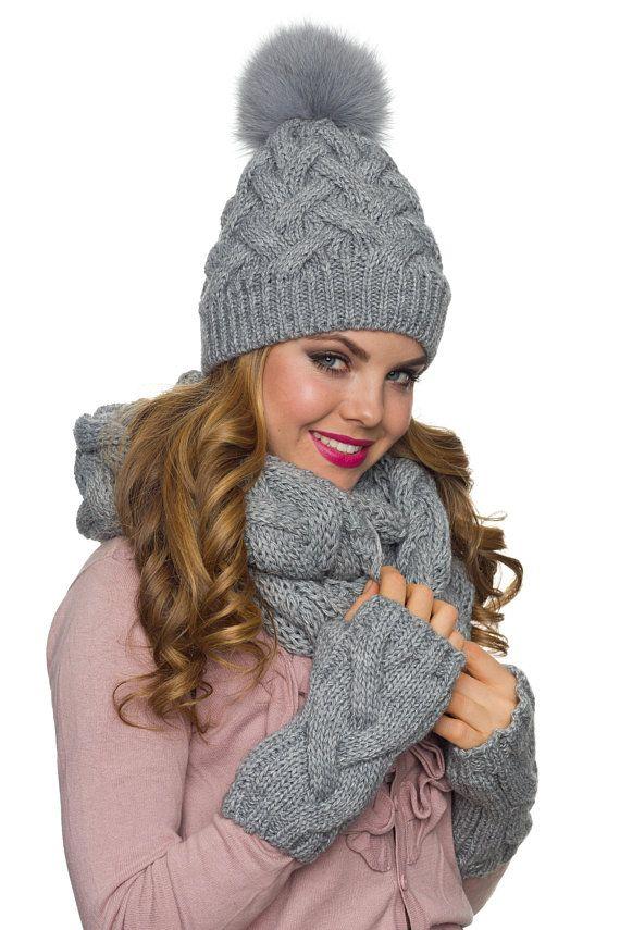 65609a7efd8 Winter hat scarf gloves set Big pom pom hat Knit Infinity