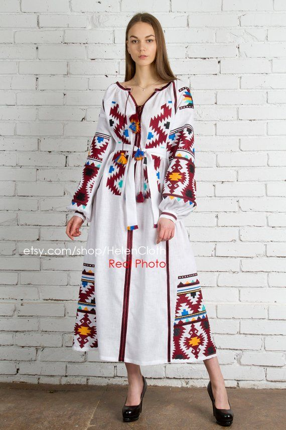 2d444043ee Wedding White linen embroidered dress vyshyvanka