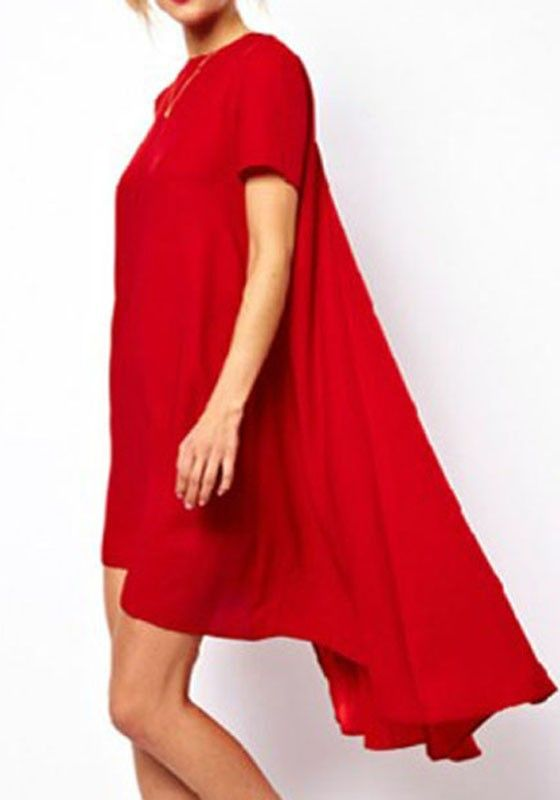 Red Plain Swallowtail Short Sleeve Loose Polyester Dress