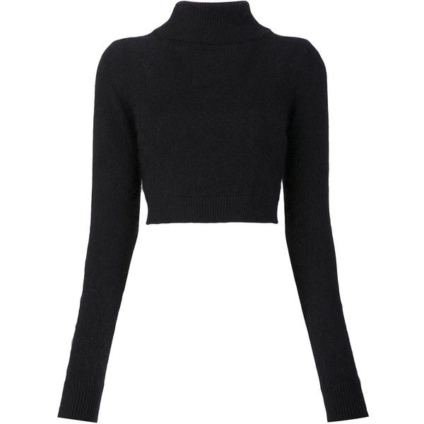 Balmain cropped turtleneck sweater found on Polyvore featuring tops, sweaters, black, long sleeve crop top, long sleeve turtleneck, ribbed turtleneck, ribbed crop top and turtle neck crop top