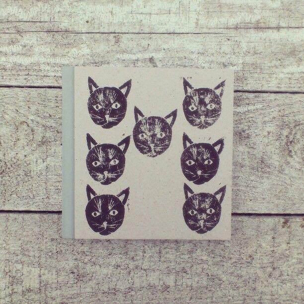 Cat notebook, linocut.
