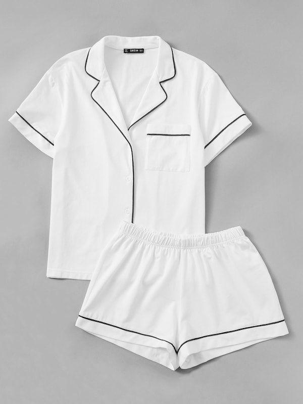 9ec4b110af Contrast Piping Pocket Front Shirt & Shorts Pj Set // SHEIN ...