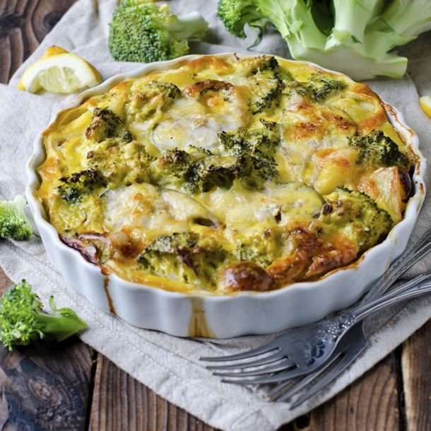 Clafoutis au curry, fromage blanc, brocolis et poulet
