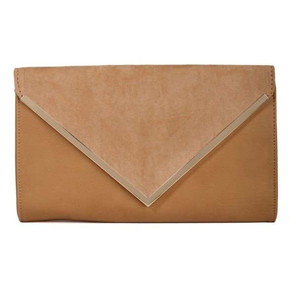 Tan Suede Envelope Clutch ($23) ❤ liked on Polyvore featuring bags, handbags, clutches, sac, tan purse, beige envelope clutch, suede purse, beige purse and tan handbags