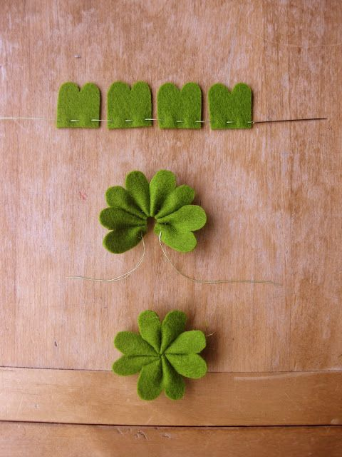 Simple way to make a Shamrock. Although in other colors I'm sure it'd just look like a flower. Cute!