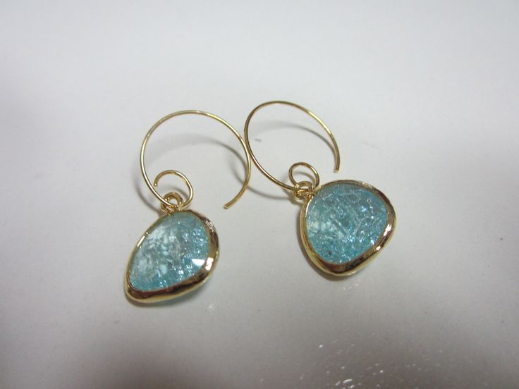 Ice blue set stones & gold plated earrings/ Birthday gift/ anniversary/holiday, blue earrings, christmas gift by anandacollections on Etsy
