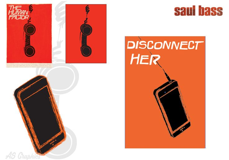 "I really like Saul Bass' work as its in a simple manner but it shows a strong message. I started off by copying a piece of his work ""The Human Factor"" and because I liked the outcome I decided to create my own response. I wanted to modernise what he had created so I decided to create an iPhone, and changed the line type to make it look disconnected. I chose a bright colour to contrast the message and I believe the general idea works very well."