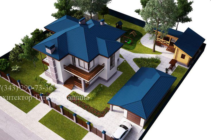 Проект дома с синей кровлей