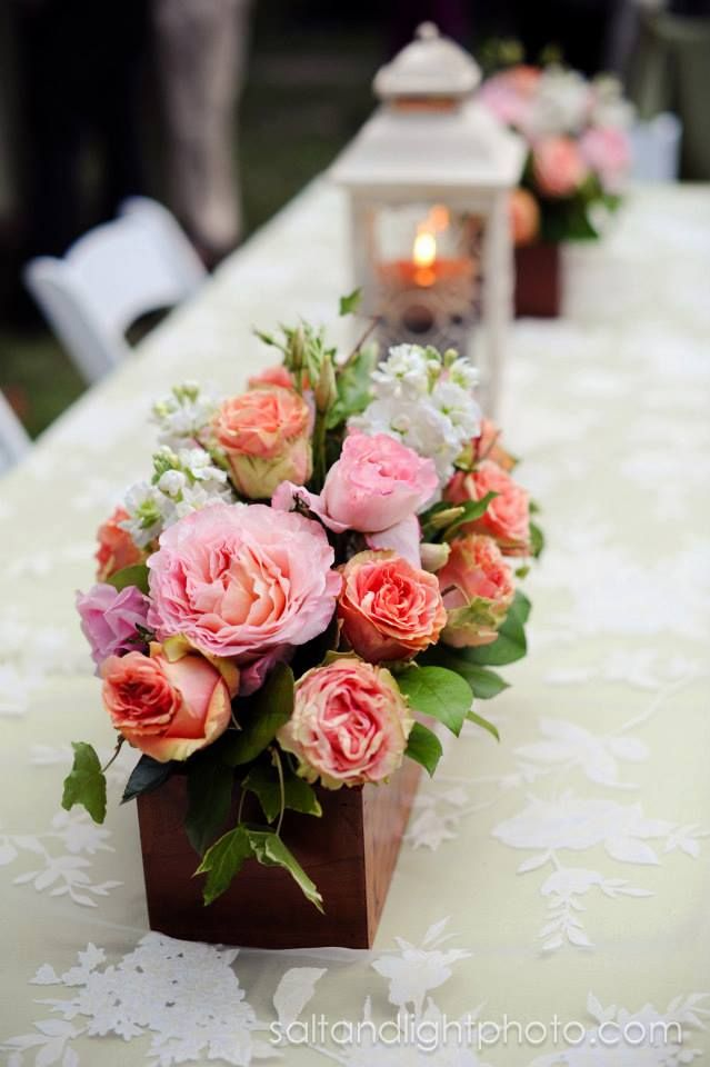 Long Wooden Box Centerpieces Wedding Roses