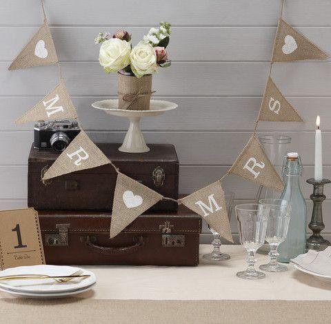 A Vintage Affair 'Mr & Mrs' Hession Wedding Bunting - Cadeaux.ie #weddingideas #weddingplanning #wedding