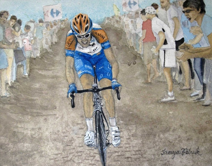 Canadian Cyclist Ryder Hesjedal in the Tour de France, by Tanya Petruk, Watercolour, 8X10