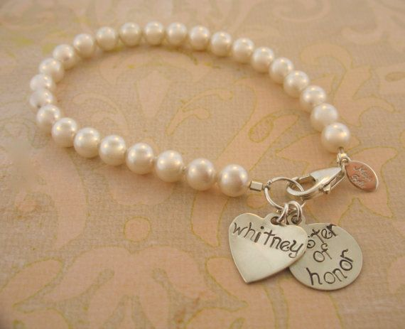 Swarovski Pearl Bracelet with Name/ bridesmaids gifts/ sister of honor/ maid of honor
