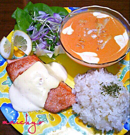 昨日の晩御飯です。 ワタリガニでビスク風と炊き込みピラフを作りました。 - 85件のもぐもぐ - ワタリガニのビスク  ワタリガニの炊き込みピラフ  鮭のムニエル  サラダのワンプレート by maichyo