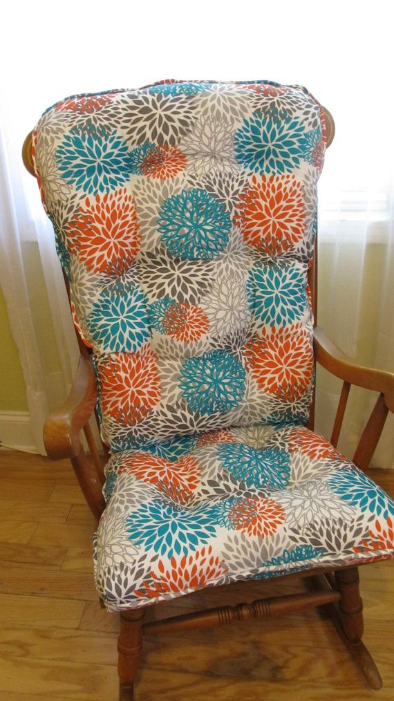 Custom Glider Rocker Cushion Set In Pacific Blooms Outdoor Floral Print In  Aqua Orange Grey On