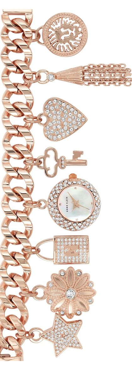 kinf od digging this ANNE KLEIN Pavé Charm Bracelet Watch #bracelet #anneklein #watch