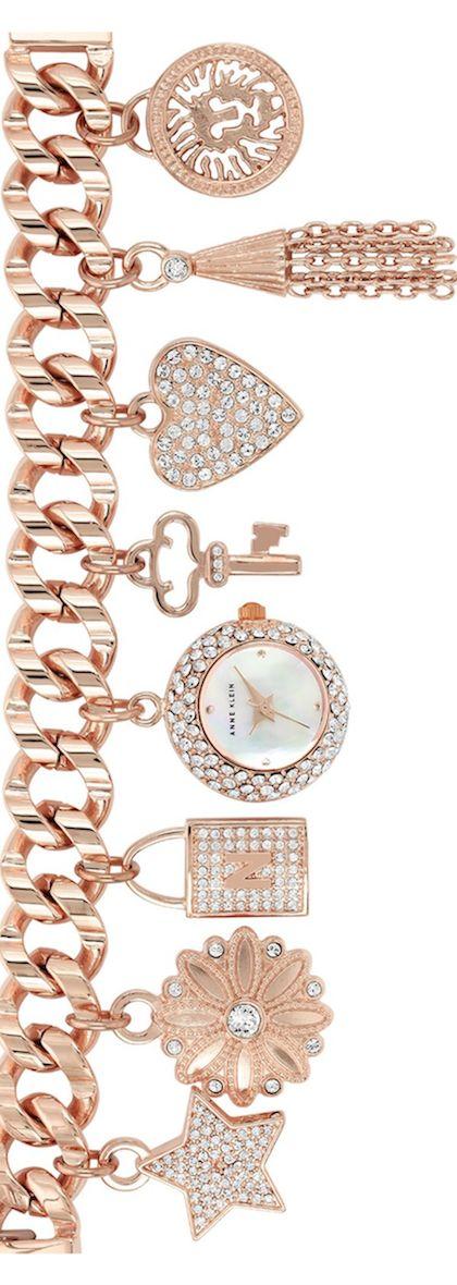 ANNE KLEIN Pavé Charm Bracelet Watch