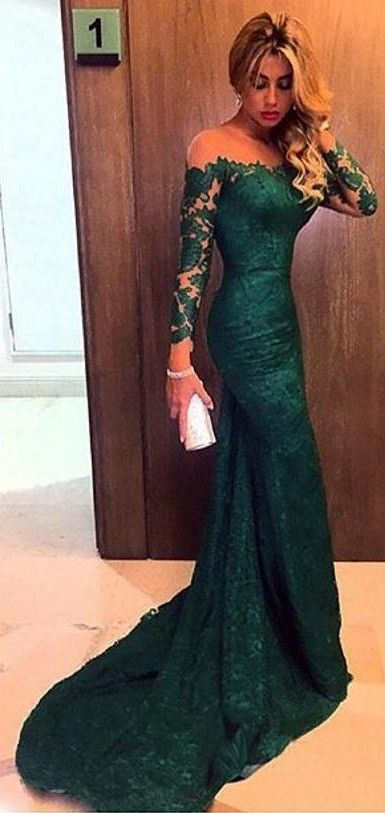 2016 Dark Green Evening Gowns Long Sleeves Off the Shoulder Lace Elegant Mermaid Prom Dresses