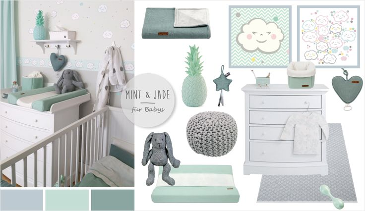 babyzimmer mit wolken in grau mint jade kids. Black Bedroom Furniture Sets. Home Design Ideas