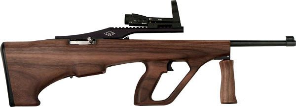Check it out. Ruger 10/22 bullpup conversion with walnut Steyr AUG stock.
