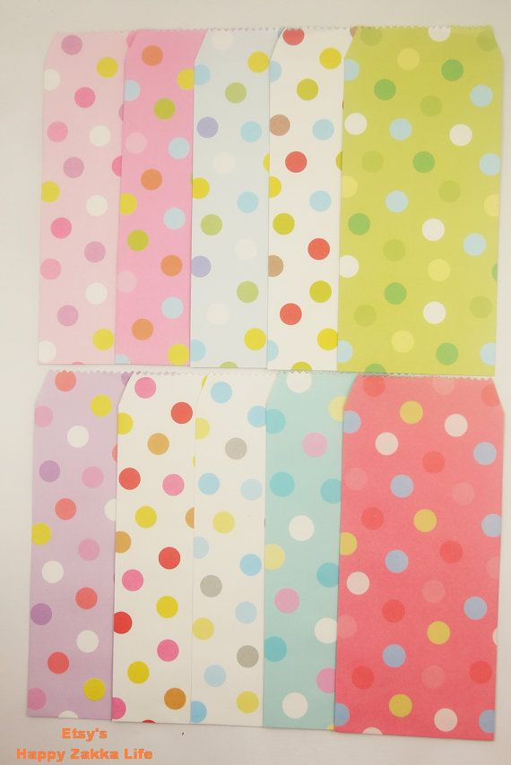 Colorful Envelope Set  8cm x 20cm  Colorful Dot  10 by zakkalover, $3.50