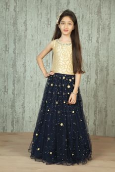 Net gown embellished with bead work