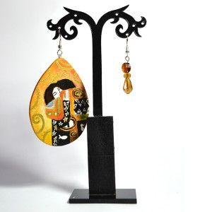 Orecchino in legno dipinto a mano - L'Abbraccio - Klimt