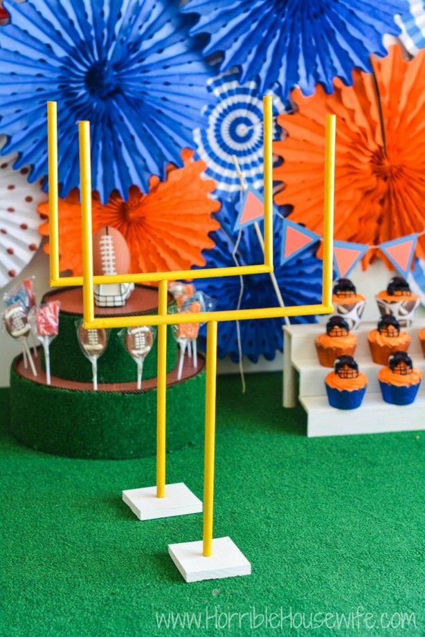 DIY football field- goal posts, bleachers, and more