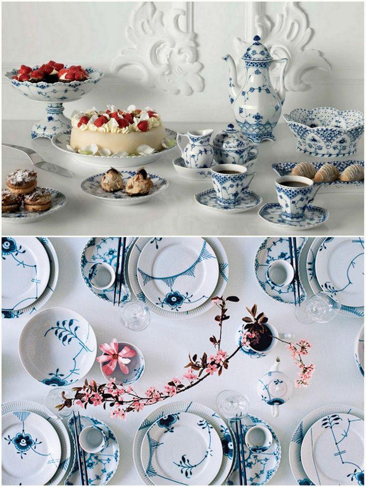 Royal Copenhagen porcelain both classic blue flute pattern (top) and mega (bottom).