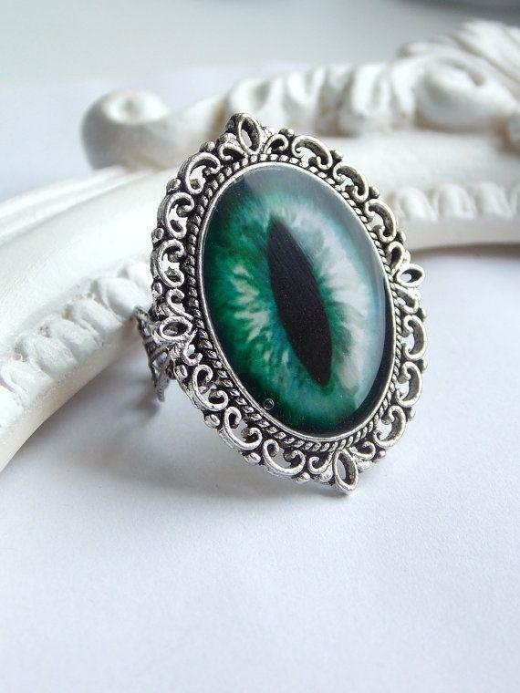 Green cat eye  gothic rockabilly silver ornated by SweetAsylumShop, €8.00