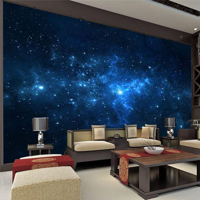 Azul Galaxy Mural Hermoso Cielo Nocturno foto wallpaper Wallpaper Art Pintura Room decor Niños habitación Dormitorio De Seda Personalizados
