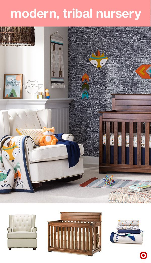 Rustic yet modern, this tribal nursery features bold, on-trend colors of orange, teal, mustard and olive, not to mention an adorable little fox character. Add cute wall decor, sweet plush friends and other fun choices. A convertible crib is a must-have, as it grows with your little one, transitioning from a crib to toddler bed to a full-sized. Next up, a cozy glider and ottoman for cozy one-on-one time. Each is a perfect addition to your baby registry.