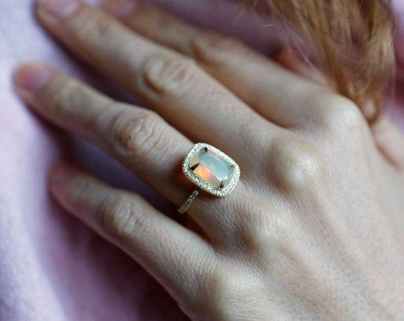 Halo Halo Opal anillo de compromiso, anillo amortiguador del ópalo, anillo de compromiso diamante, amortiguador anillo de compromiso,