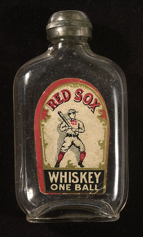"""c1900 Red Sox Whiskey One Ball flask, 4 1/4"""" tall,"""
