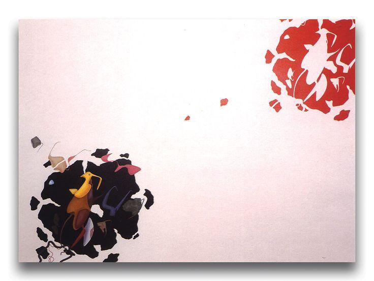 Orizzonte degli eventi, acrilici su tela, cm 130x180, 1989