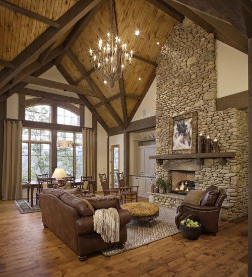 River Rock Fireplace: Stones Fireplaces, Kitchens Design, Living Rooms Design, Rivers Rocks, Design Interiors, Interiors Design, High Ceilings, Logs Cabins, Design Home