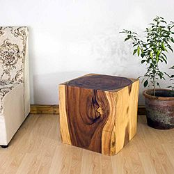 @Overstock - A tasteful blend of rusticity and refinement, the Cube 18 end table reminds us that strength and beauty can go hand in hand. With smooth surfaces, this piece of furniture can be used as an end table, display stand, or stool.  http://www.overstock.com/Worldstock-Fair-Trade/Wooden-Cube-18-Tung-Oil-End-Table-Thailand/5226470/product.html?CID=214117 $267.29