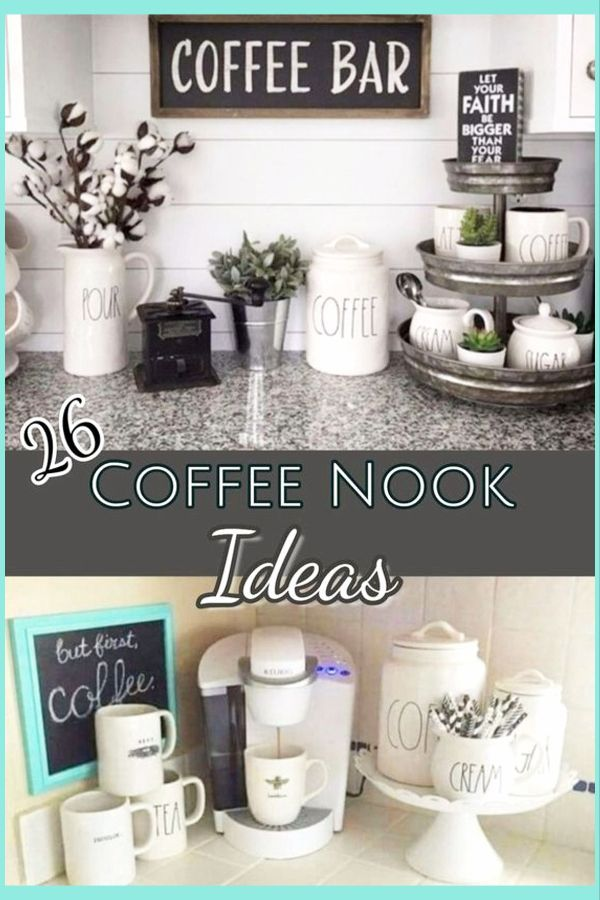 I Love All These Coffee Nook Pictures And Ideas For A Coffee Area In My Kitchen The Farmhouse Coffee Nook Diy Coffee Station Diy Coffee Bar Coffee Nook Decor