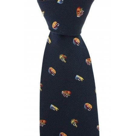Navy Blue Luxury Silk Tie With Fly Fishing Hook Design - £19.50