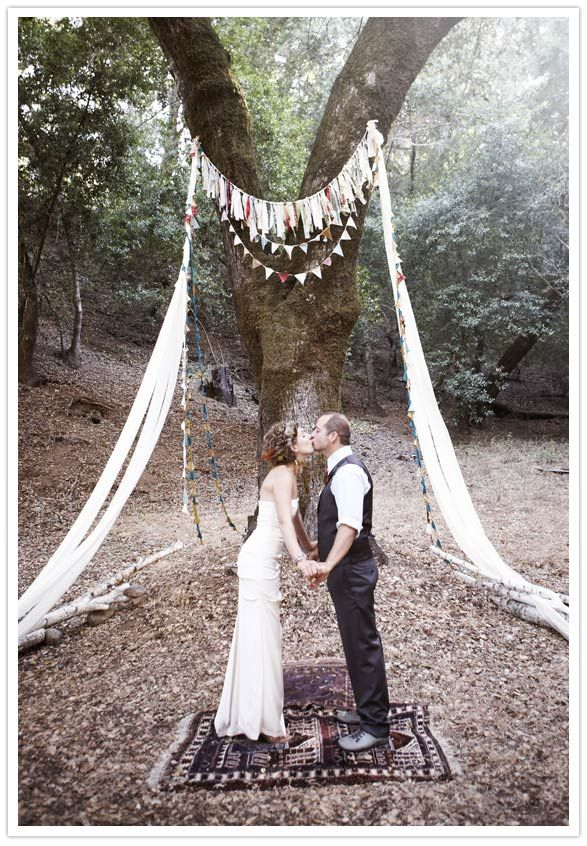 ceremony decor in the woods
