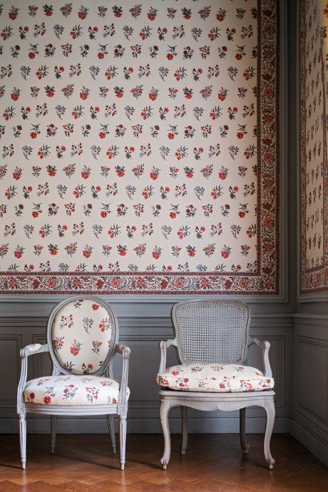 Upholstered walls in Braquenie Fabrics at the Chateau De Montgeoffroy.: