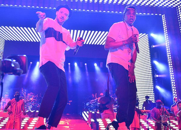 Jay Z and Timberlake Hit Yankee Stadium as Legends of the Summer